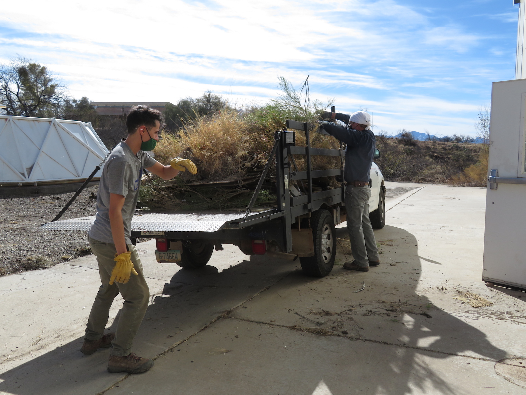 Tim, Trent removing weeds at the future SAM Mars Yard, photo by Kai Staats