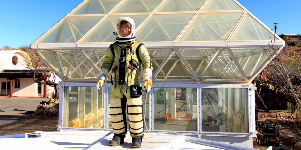 Biosphere 2 Deputy Director John Adams conduct pressure suit test at SAM